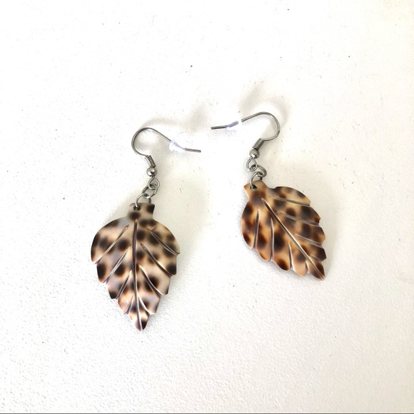 Natural Shell Leaf Earrings